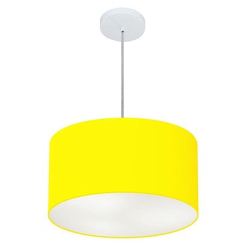 Lustre Pendente Cilíndrico Md-4099 Cúpula em Tecido 40x25cm Amarelo - Bivolt