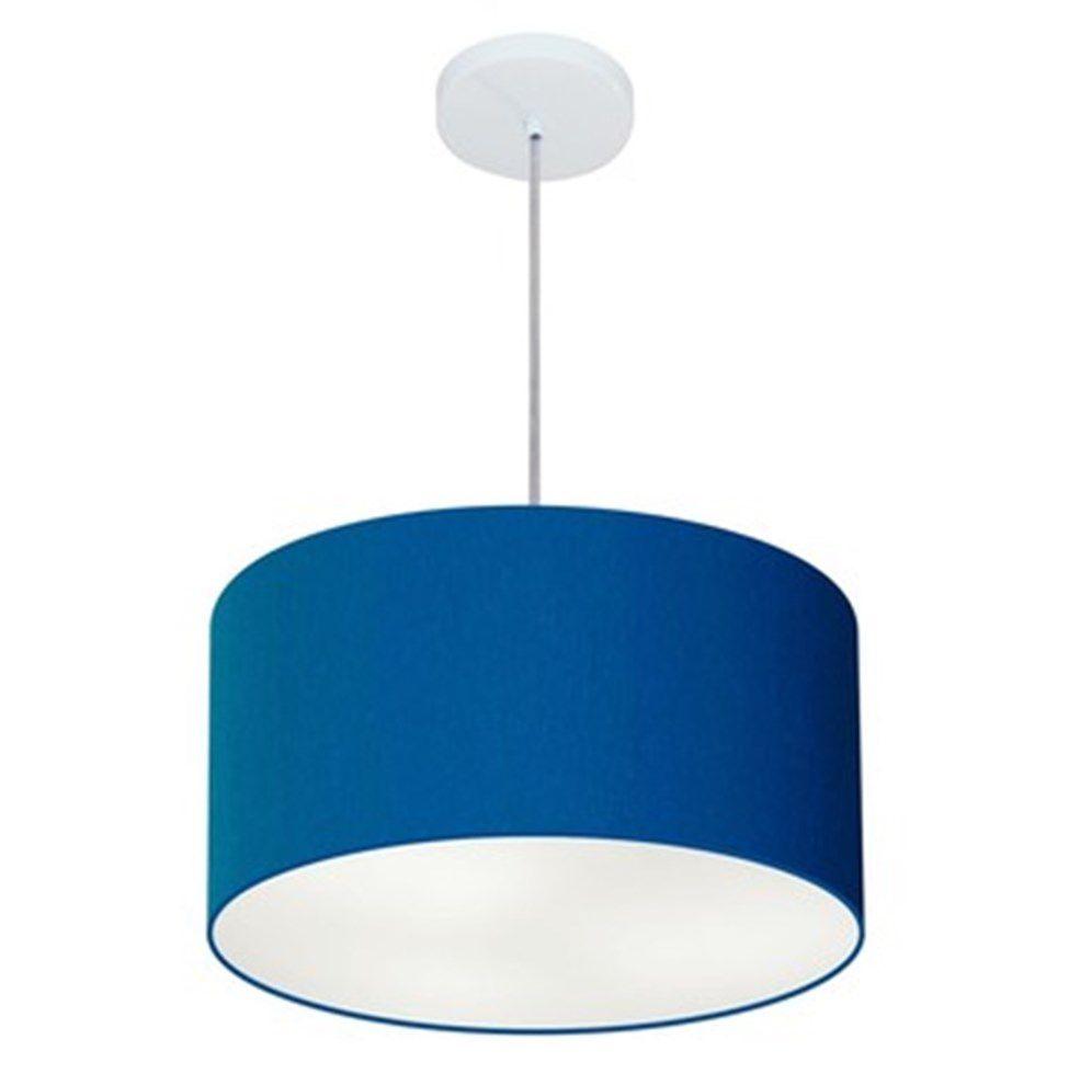 Lustre Pendente Cilíndrico Md-4099 Cúpula em Tecido 40x25cm Azul Marinho - Bivolt
