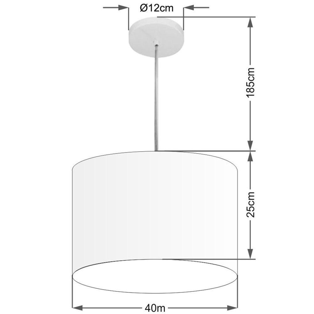 Lustre Pendente Cilíndrico Md-4099 Cúpula em Tecido 40x25cm Bordo - Bivolt