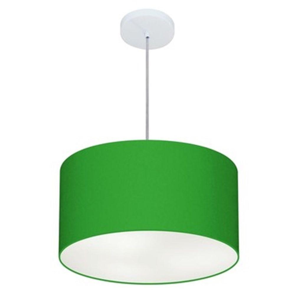 Lustre Pendente Cilíndrico Md-4099 Cúpula em Tecido 40x25cm Verde Folha - Bivolt