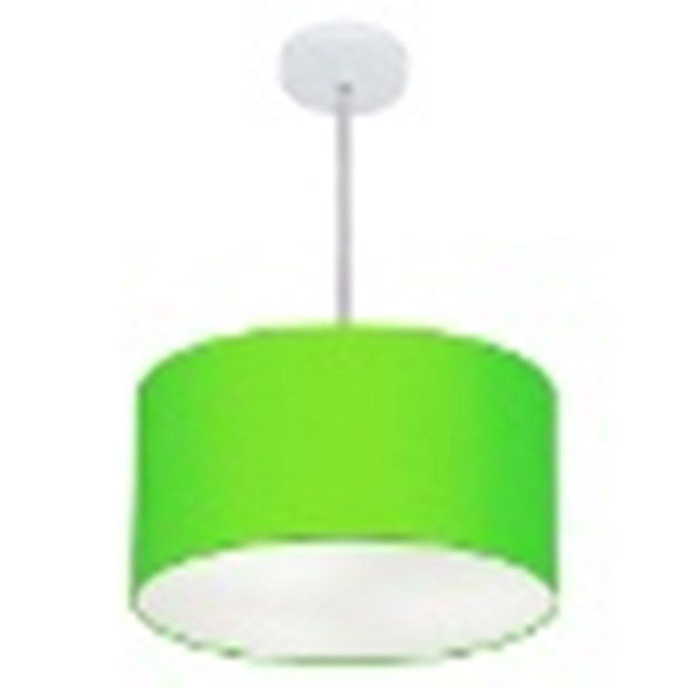 Lustre Pendente Cilíndrico Md-4099 Cúpula em Tecido 40x25cm Verde Limão - Bivolt
