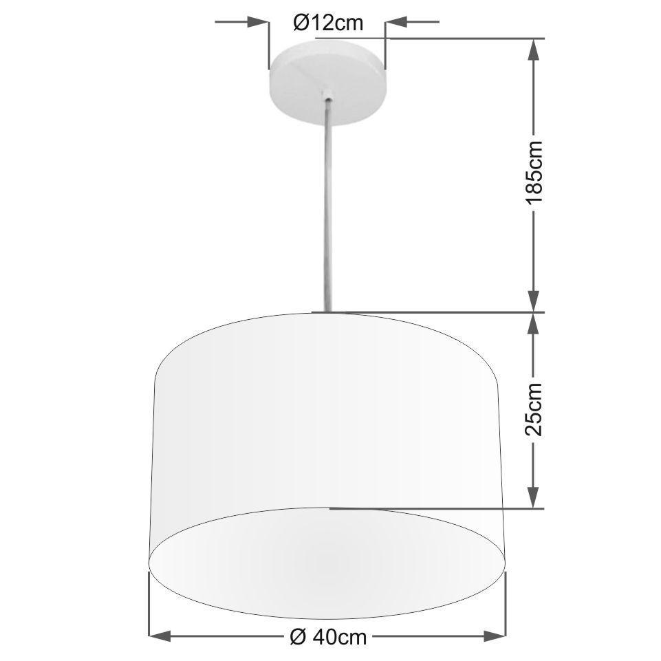 Lustre Pendente Cilíndrico Md-4099 Cúpula em Tecido 40x25cm Branco - Bivolt