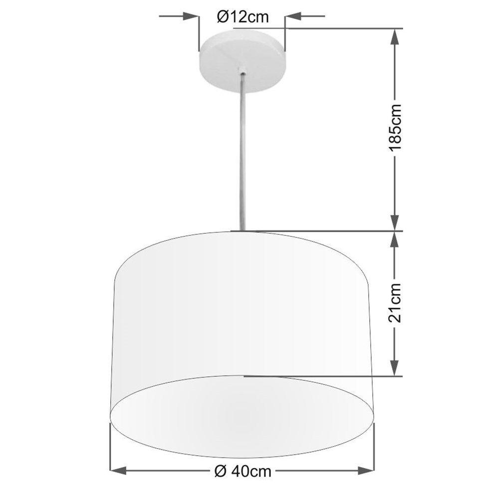 Lustre Pendente Cilíndrico Md-4099 Cúpula em Tecido 40x25cm Café - Bivolt
