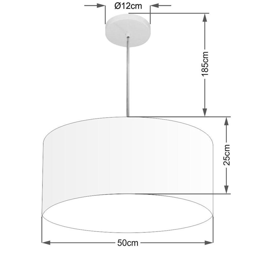 Lustre Pendente Cilíndrico Md-4100 Cúpula em Tecido 50x25cm Branco - Bivolt