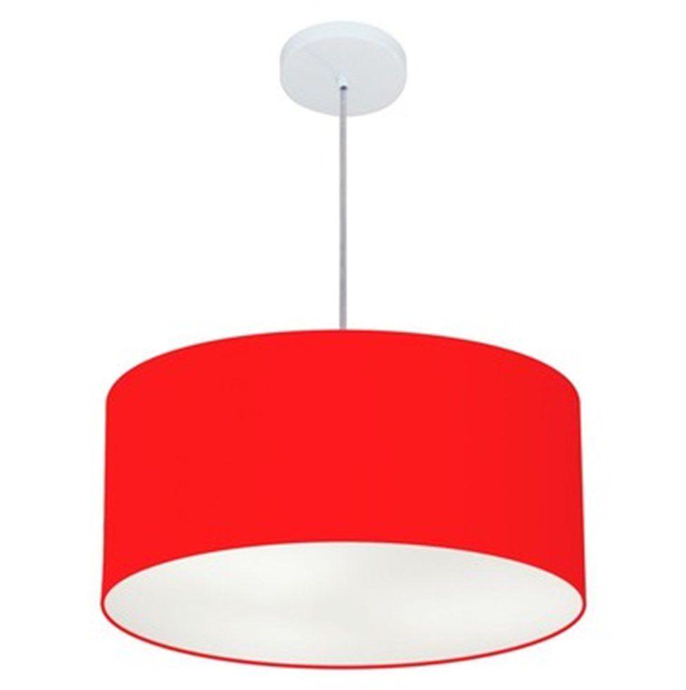 Lustre Pendente Cilíndrico Md-4100 Cúpula em Tecido 50x25cm Vermelho - Bivolt