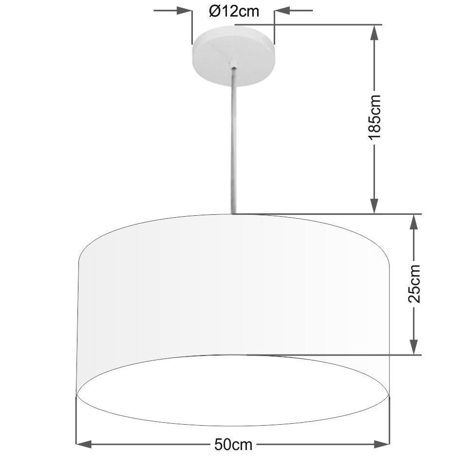 Lustre Pendente Cilíndrico Md-4100 Cúpula em Tecido 50x25cm Algodão Crú - Bivolt