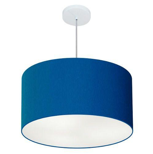Lustre Pendente Cilíndrico Md-4101 Cúpula em Tecido 60x30cm Azul Marinho - Bivolt