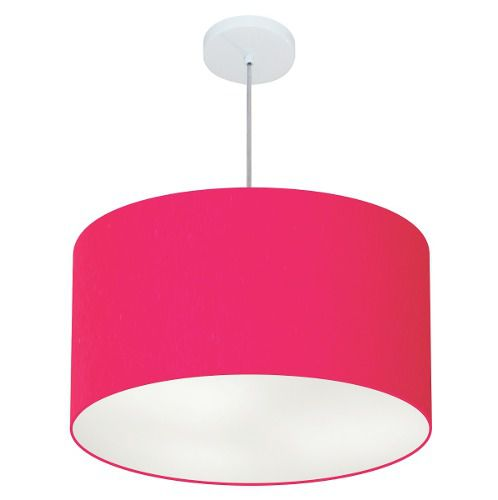 Lustre Pendente Cilíndrico Md-4101 Cúpula em Tecido 60x30cm Rosa Pink - Bivolt