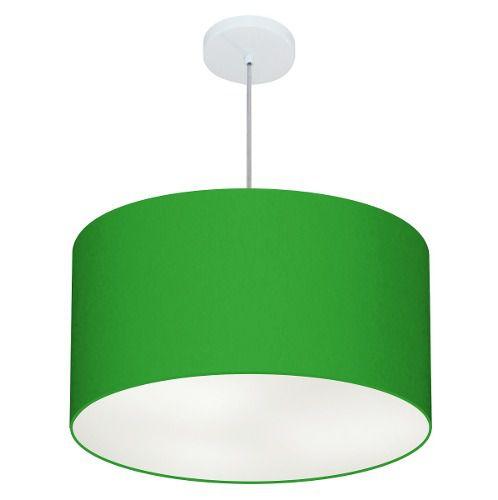 Lustre Pendente Cilíndrico Md-4101 Cúpula em Tecido 60x30cm Verde Folha - Bivolt