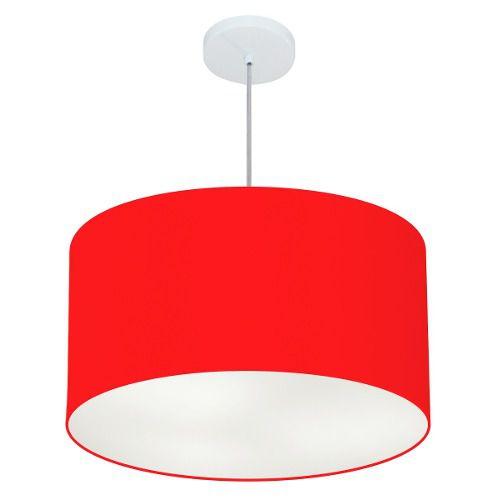 Lustre Pendente Cilíndrico Md-4101 Cúpula em Tecido 60x30cm Vermelho - Bivolt