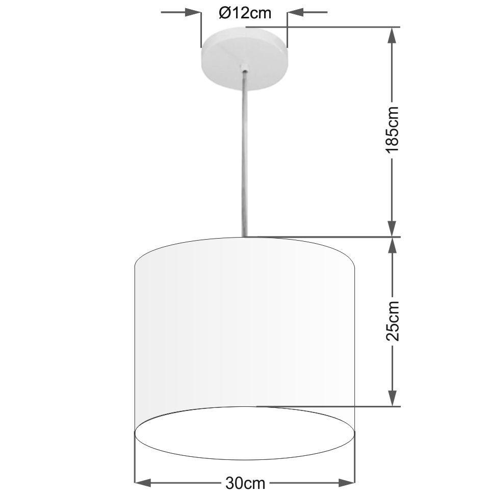 Lustre Pendente Cilíndrico Md-4113 Cúpula em Tecido 30x25cm Rustico Bege - Bivolt