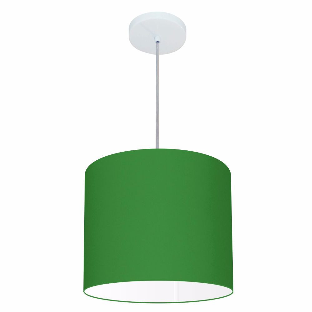 Lustre Pendente Cilíndrico Md-4113 Cúpula em Tecido 30x25cm Verde Folha - Bivolt