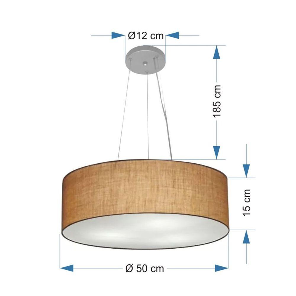 Lustre Pendente Cilíndrico Md-4134 Cúpula em Tecido 50x15cm Palha - Bivolt