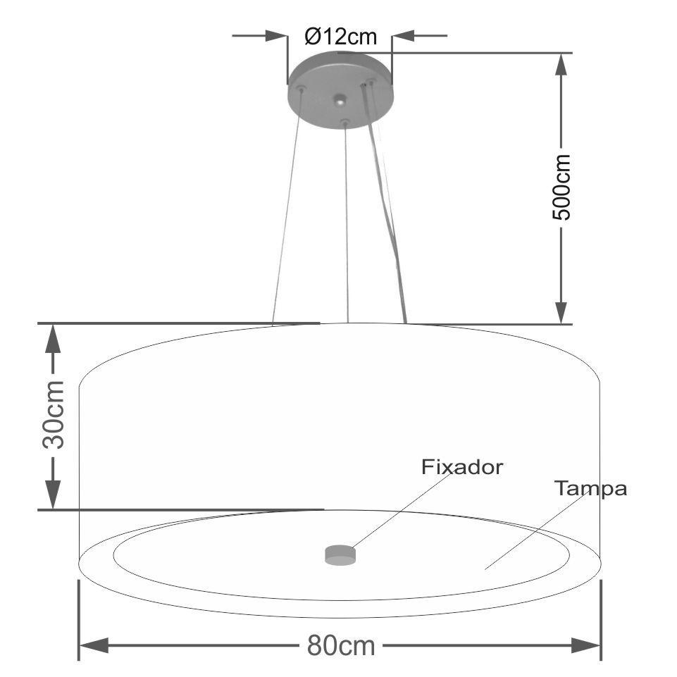 Lustre Pendente Cilíndrico Md-4142 Cúpula Forrada em Tecido 80x30cm Linho Bege / Branco - Bivolt