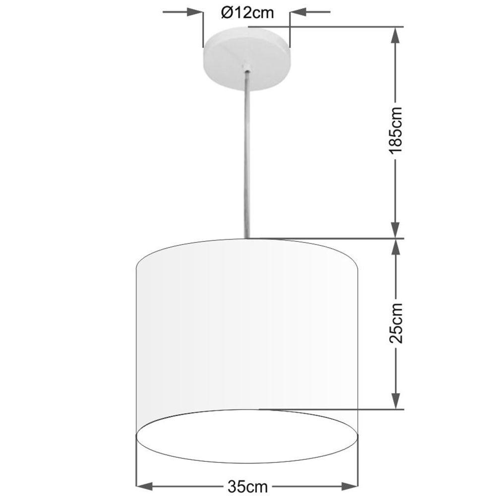 Lustre Pendente Cilíndrico Md-4143 Cúpula em Tecido 35x25cm Branco - Bivolt