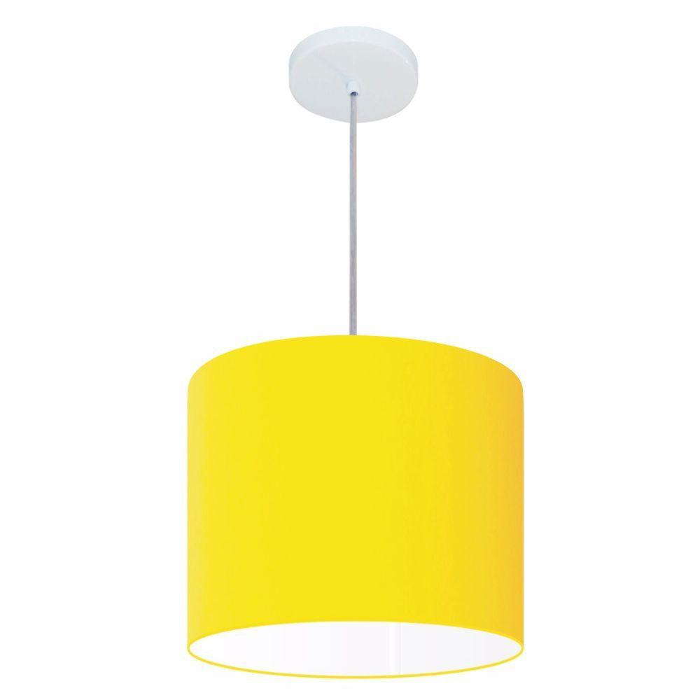 Lustre Pendente Cilíndrico Md-4143 Cúpula em Tecido 35x25cm Amarelo - Bivolt