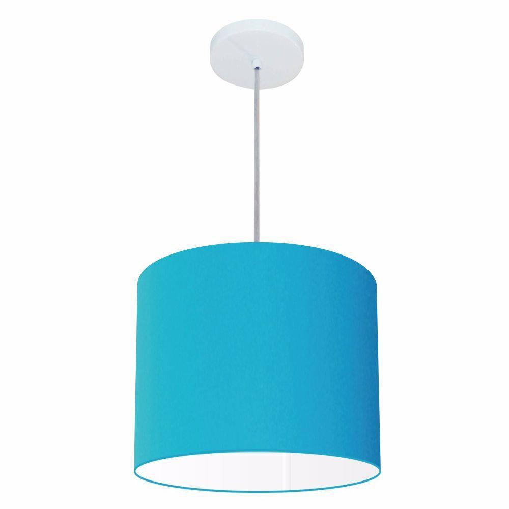 Lustre Pendente Cilíndrico Md-4143 Cúpula em Tecido 35x25cm Azul Turquesa - Bivolt