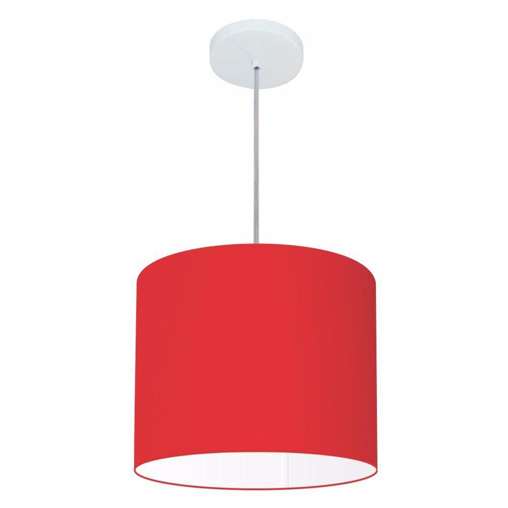 Lustre Pendente Cilíndrico Md-4143 Cúpula em Tecido 35x25cm Vermelho - Bivolt