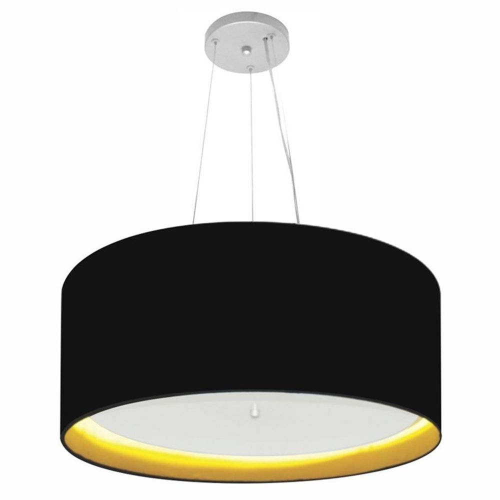 Lustre Pendente Cilíndrico Md-4145 Cúpula Forrada em Tecido 50x25cm Preto / Amarelo - Bivolt