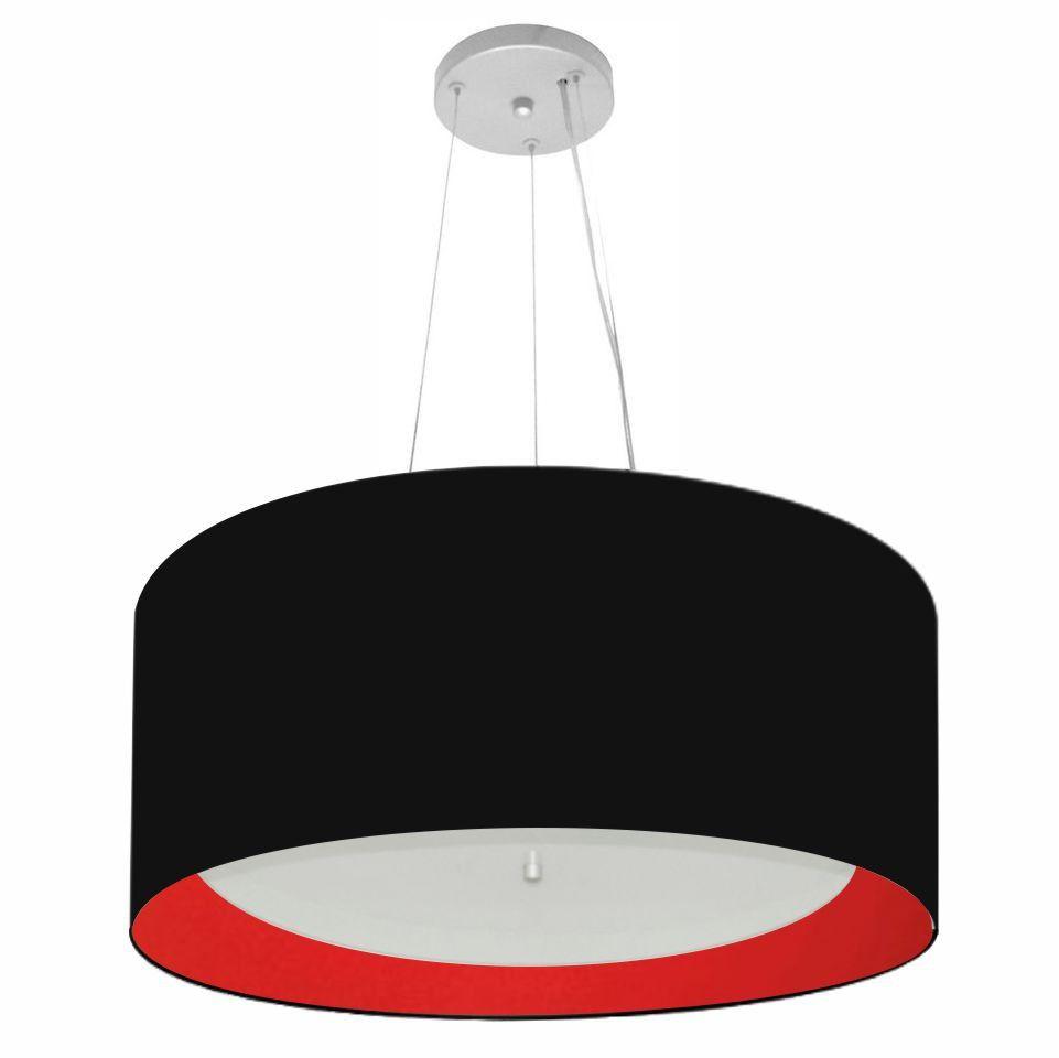 Lustre Pendente Cilíndrico Md-4145 Cúpula Forrada em Tecido 50x25cm Preto / Vermelho - Bivolt