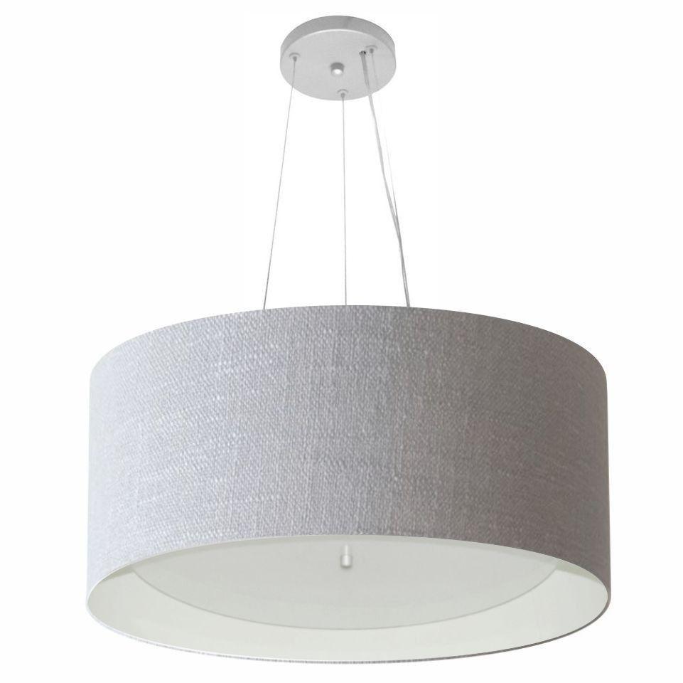 Lustre Pendente Cilíndrico Md-4145 Cúpula Forrada em Tecido 50x25cm Rustico Cinza / Branco - Bivolt