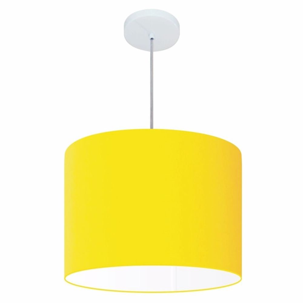 Lustre Pendente Cilíndrico Md-4146 Cúpula em Tecido 40x30cm Amarelo - Bivolt