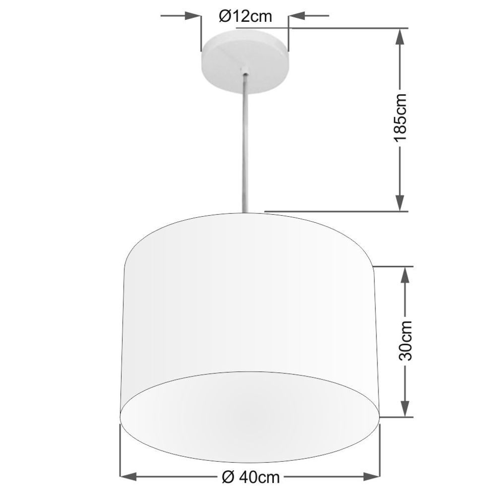 Lustre Pendente Cilíndrico Md-4146 Cúpula em Tecido 40x30cm Branco - Bivolt
