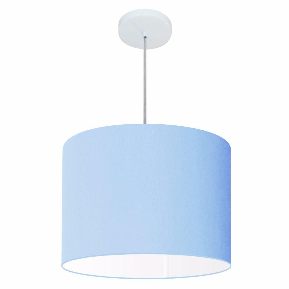 Lustre Pendente Cilíndrico Md-4146 Cúpula em Tecido 40x30cm Azul Bebê - Bivolt