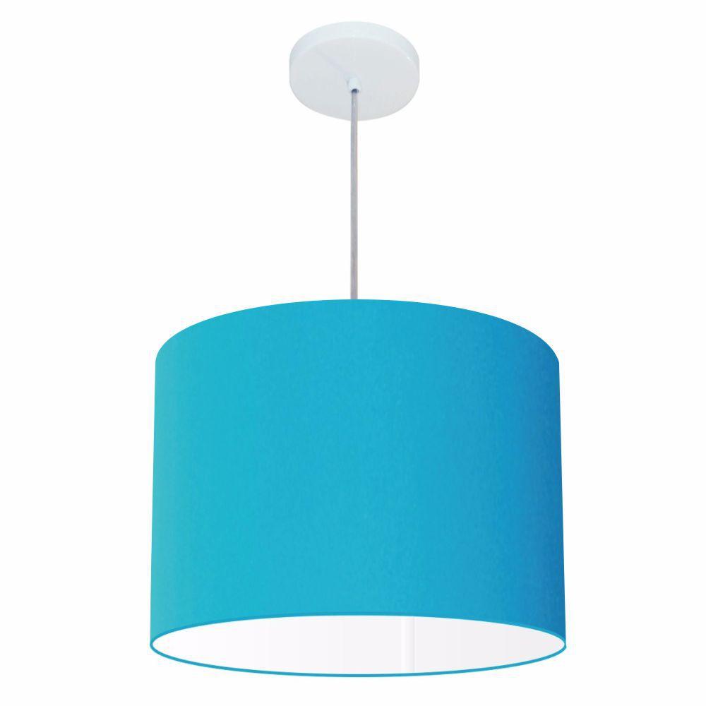 Lustre Pendente Cilíndrico Md-4146 Cúpula em Tecido 40x30cm Azul Turquesa - Bivolt