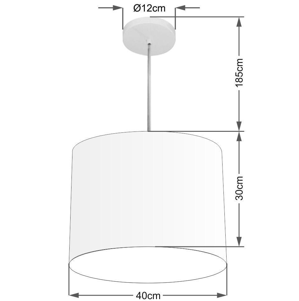 Lustre Pendente Cilíndrico Md-4146 Cúpula em Tecido 40x30cm Bordo - Bivolt