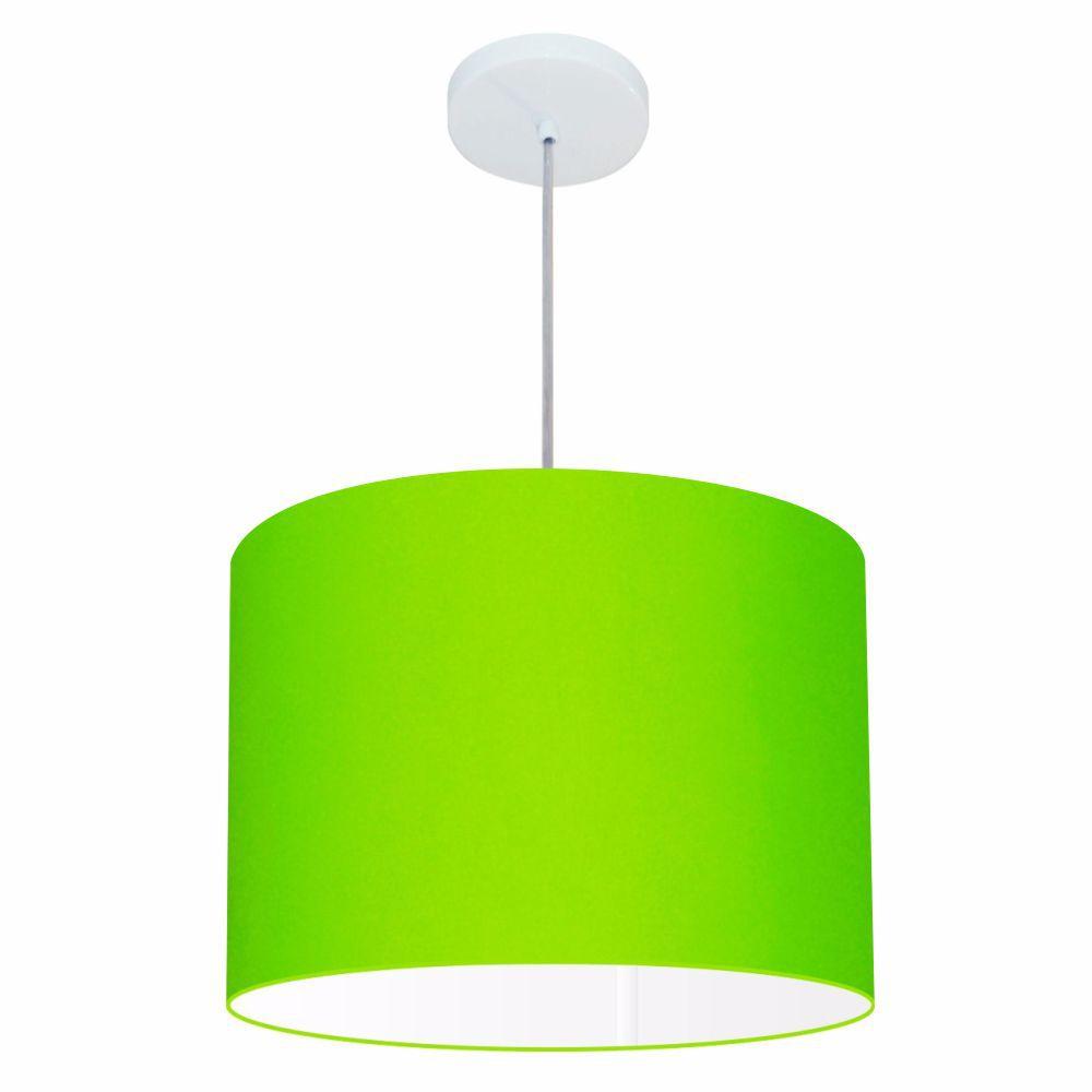 Lustre Pendente Cilíndrico Md-4146 Cúpula em Tecido 40x30cm Verde Limão - Bivolt