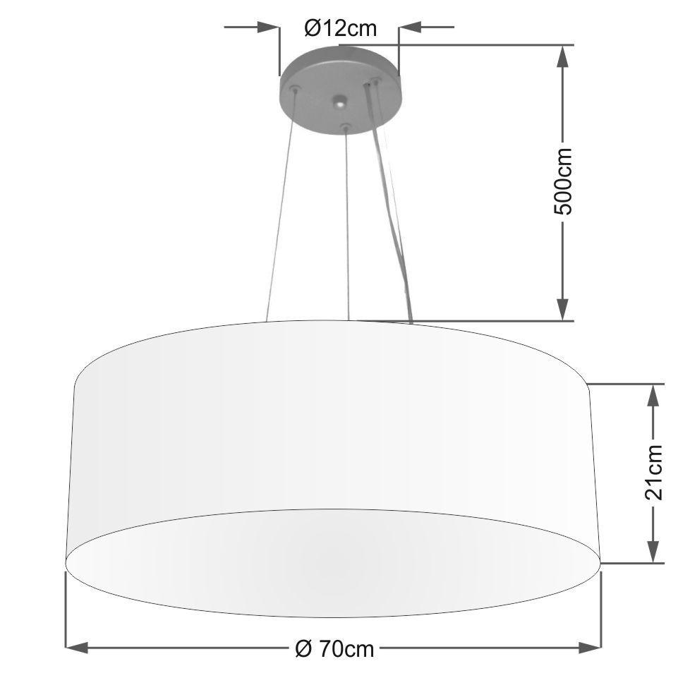 Lustre Pendente Cilíndrico Md-4150 Cúpula em Tecido 70x21cm Linho Bege - Bivolt