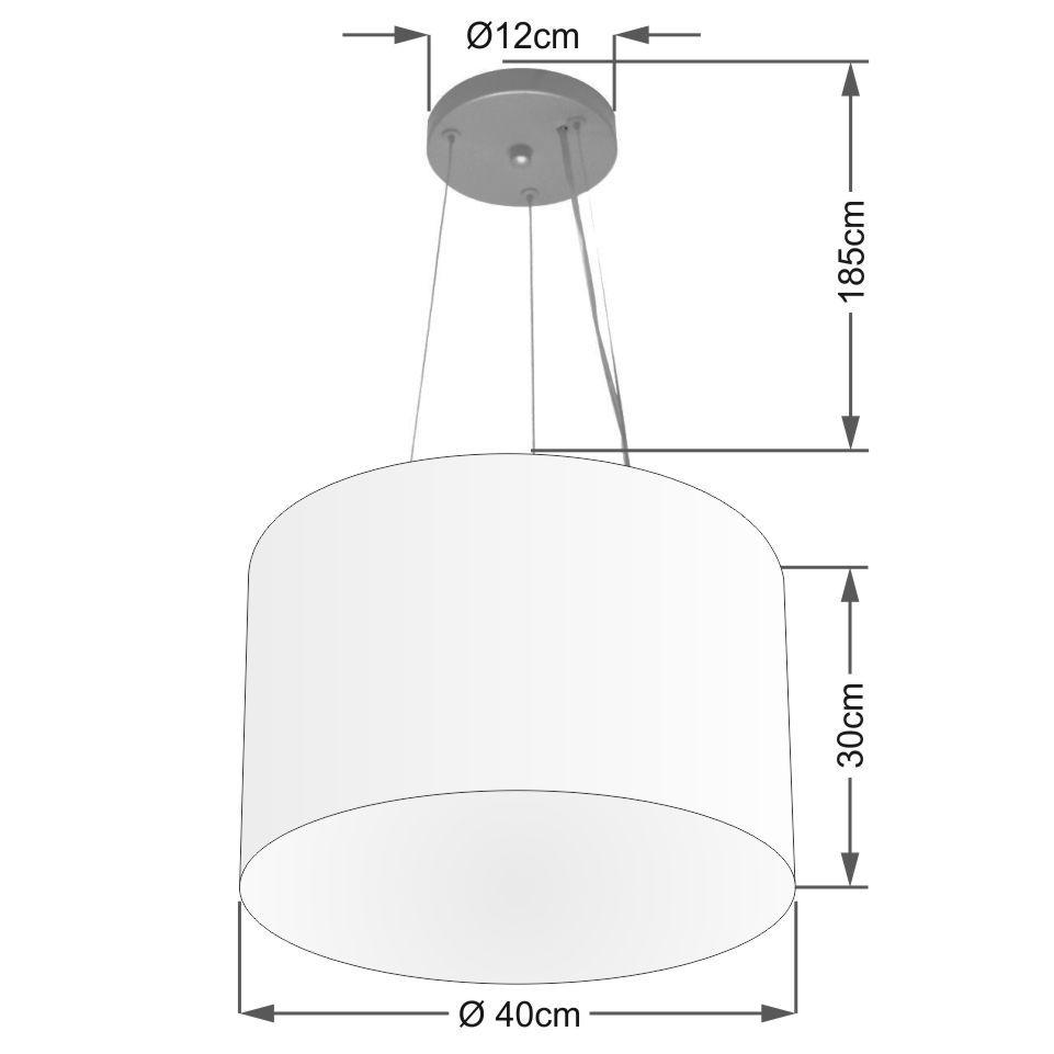 Lustre Pendente Cilíndrico Md-4183 Cúpula em Tecido 40x30cm Algodão Crú - Bivolt