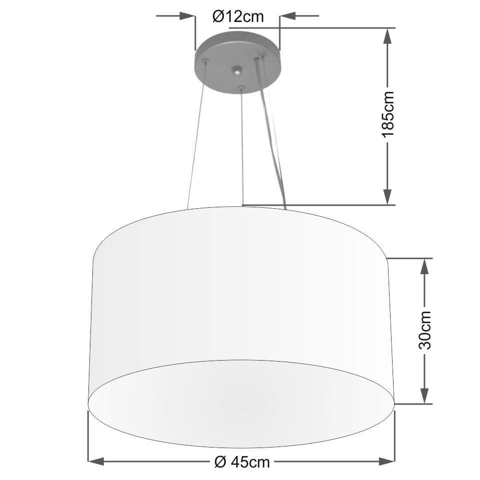Lustre Pendente Cilíndrico Md-4187 Cúpula em Tecido 45x30cm Rustico Cinza - Bivolt