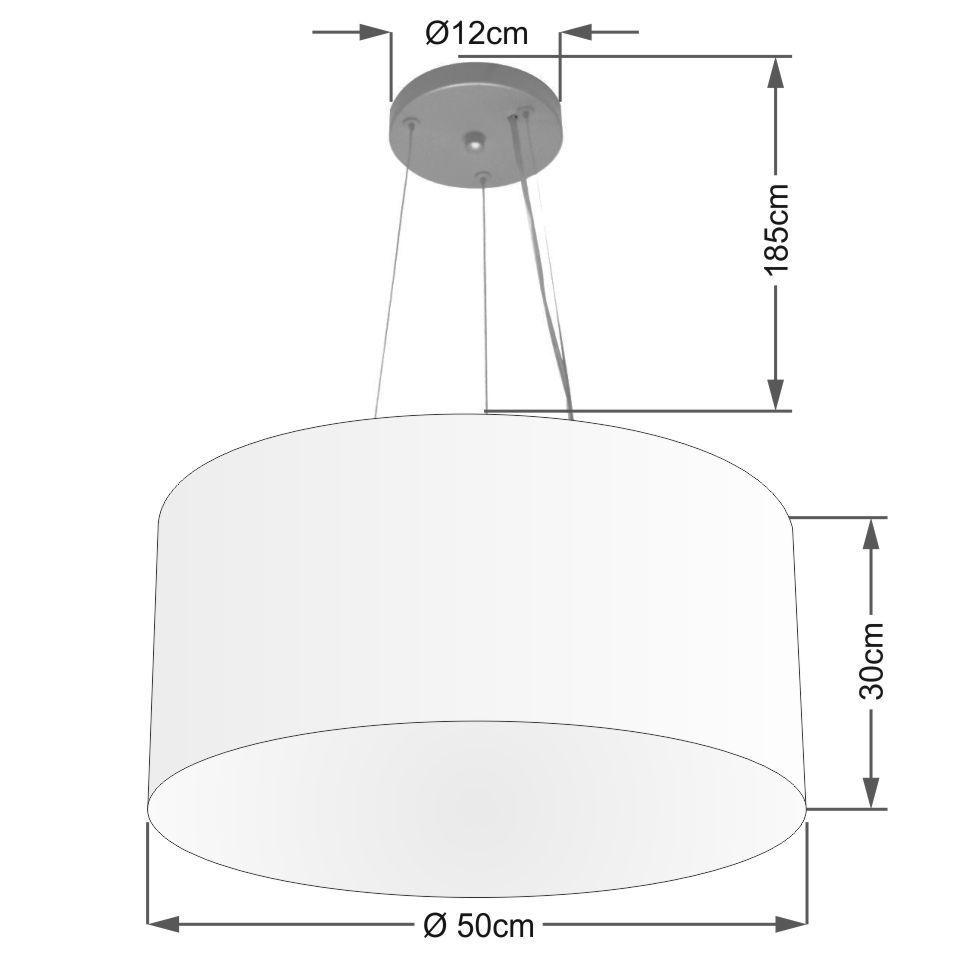 Lustre Pendente Cilíndrico Md-4189 Cúpula em Tecido 50x30cm Branco - Bivolt