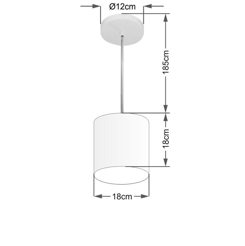 Lustre Pendente Cilíndrico Md-4200 Cúpula em Tecido 14x15cm Rustico Bege - Bivolt