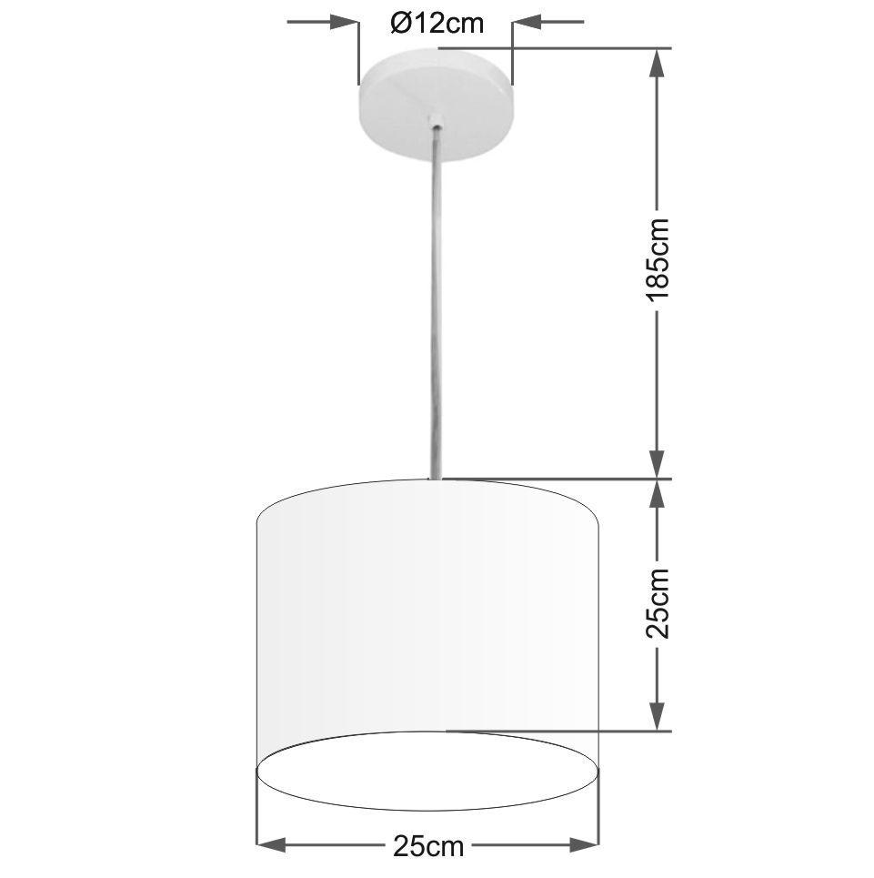 Lustre Pendente Cilíndrico Md-4201 Cúpula em Tecido 25x25cm Preto - Bivolt