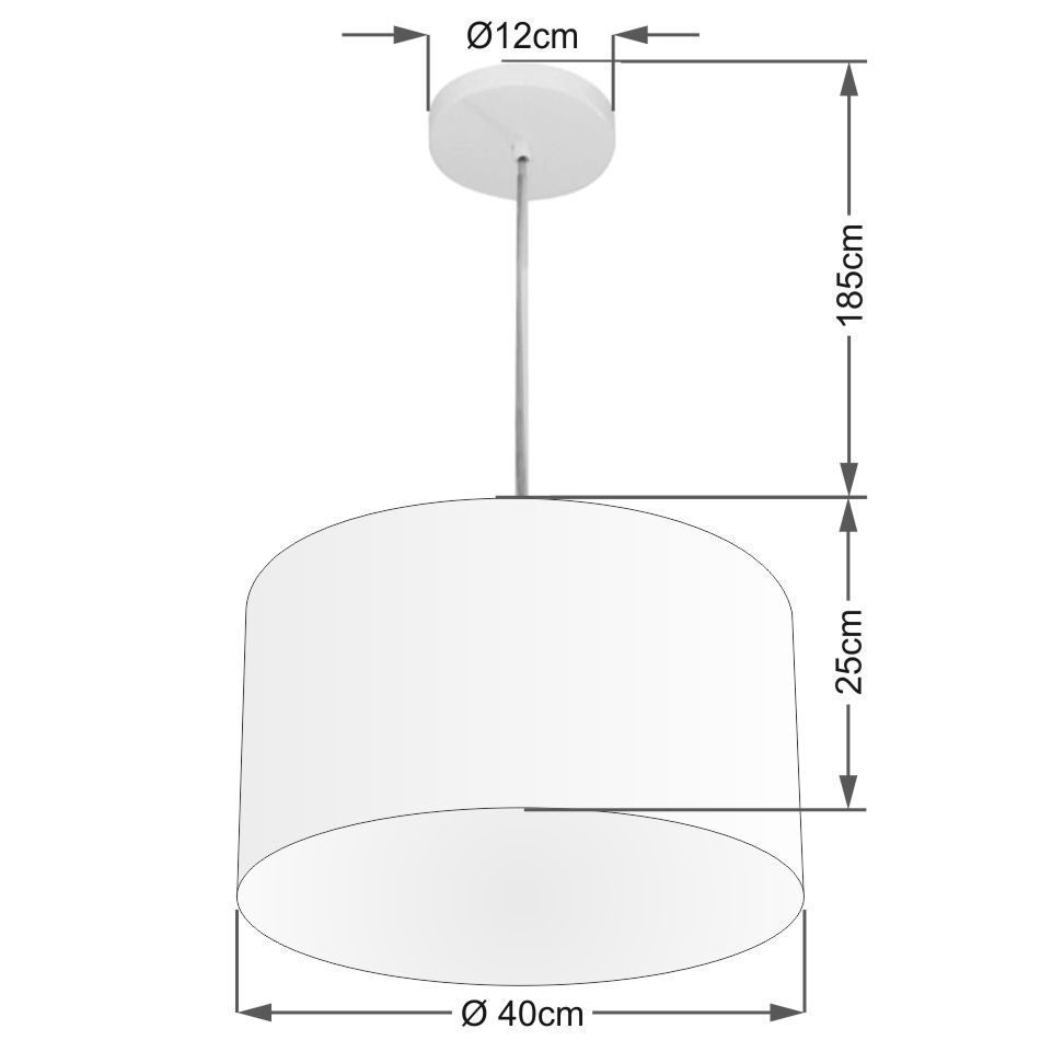 Lustre Pendente Cilíndrico Md-4202 Cúpula em Tecido 40x25cm Rustico Cinza - Bivolt