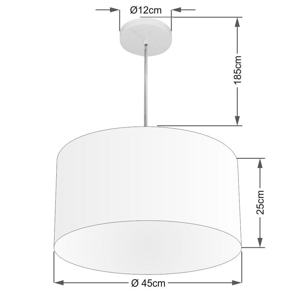 Lustre Pendente Cilíndrico Md-4204 Cúpula em Tecido 45x25cm Linho Bege - Bivolt
