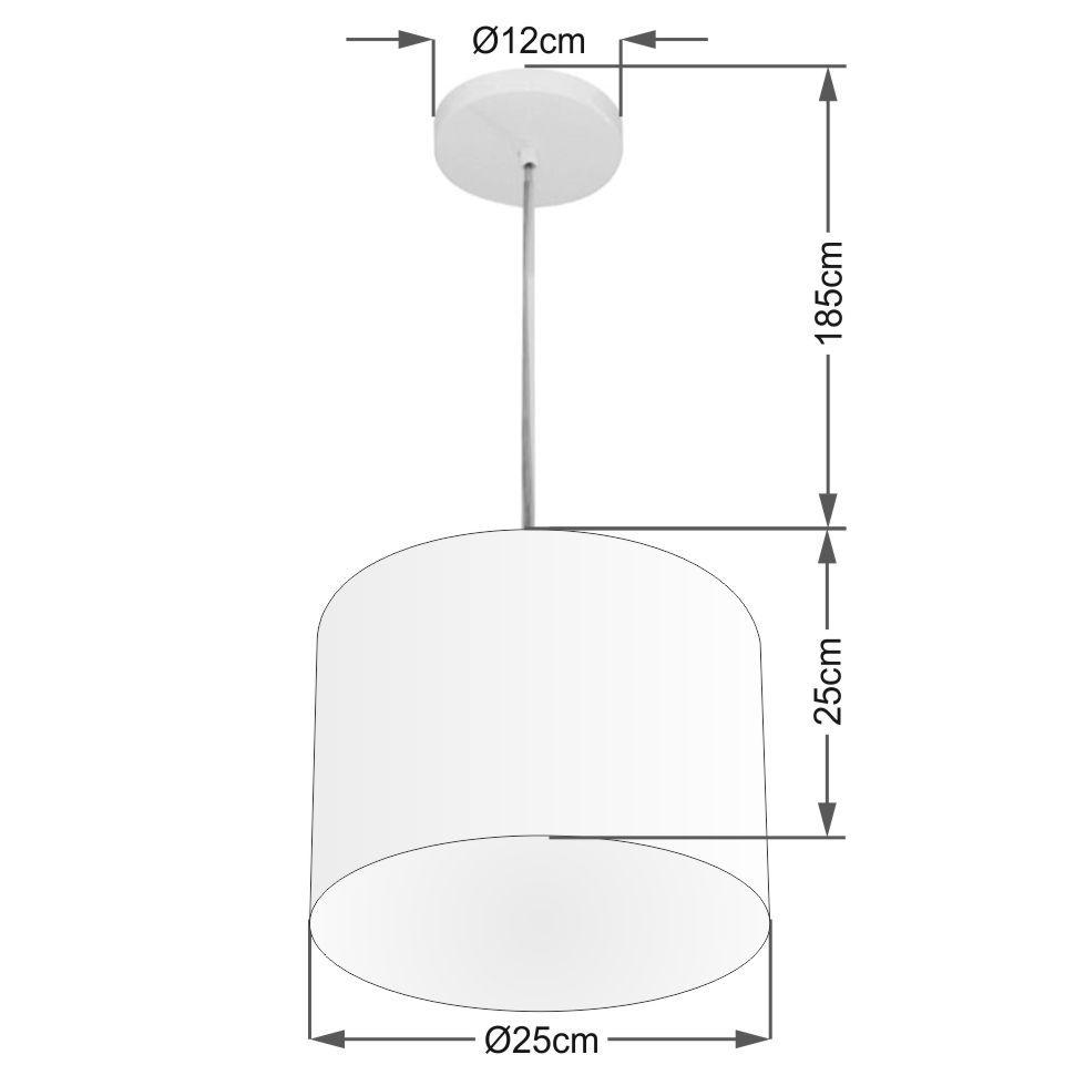 Lustre Pendente Cilíndrico Md-4209 Cúpula em Tecido 25x25cm Palha - Bivolt