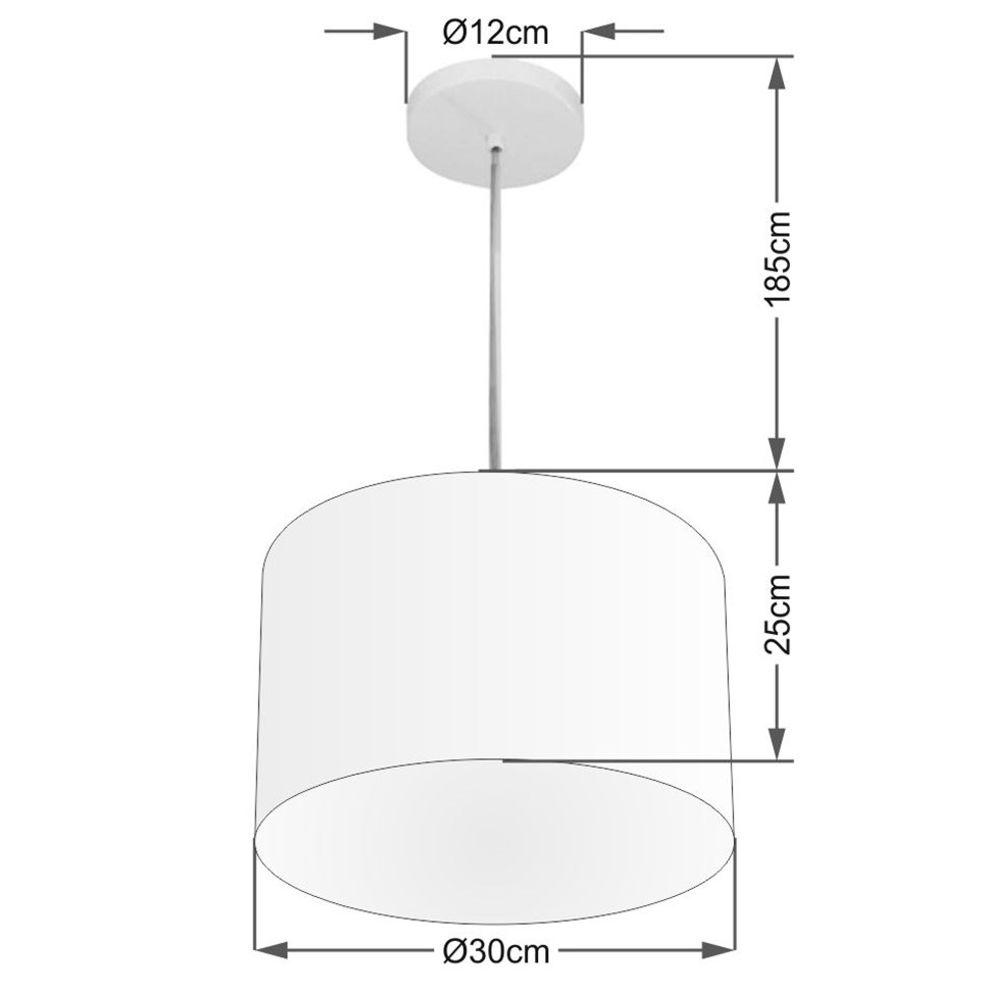 Lustre Pendente Cilíndrico Md-4210 Cúpula em Tecido 30x25cm Algodão Crú - Bivolt