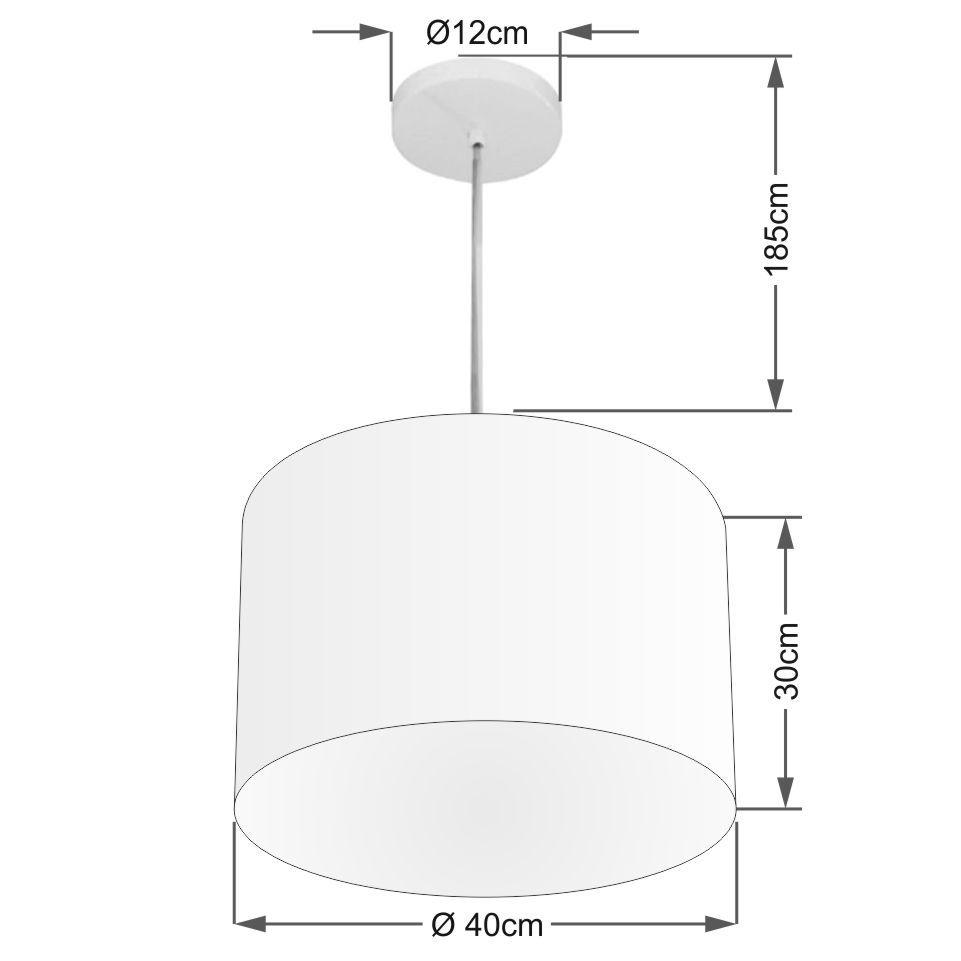 Lustre Pendente Cilíndrico Md-4212 Cúpula em Tecido 40x30cm Rustico Cinza - Bivolt