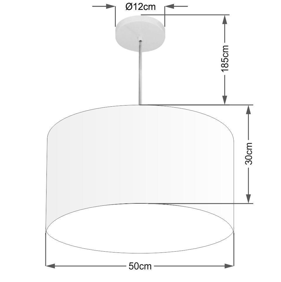 Lustre Pendente Cilíndrico Md-4213 Cúpula em Tecido 50x30cm Algodão Crú - Bivolt