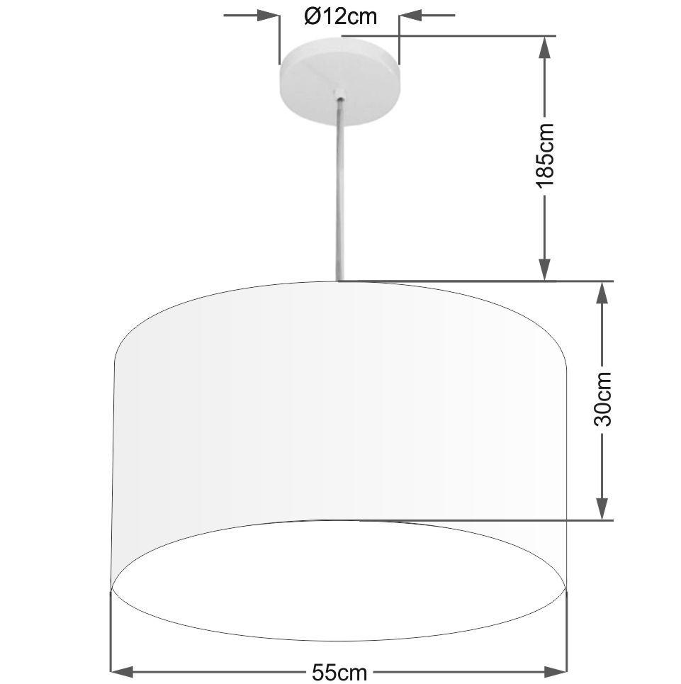 Lustre Pendente Cilíndrico Md-4215 Cúpula em Tecido 55x30cm Branco - Bivolt