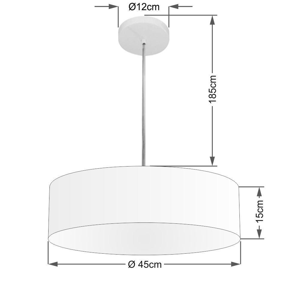 Lustre Pendente Cilíndrico Md-4254 Cúpula em Tecido 45x15cm Rustico Bege - Bivolt