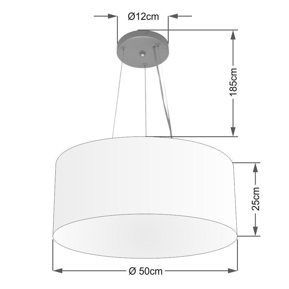 Lustre Pendente Cilíndrico Vivare Md-4188 Cúpula em Tecido 50x25cm - Bivolt