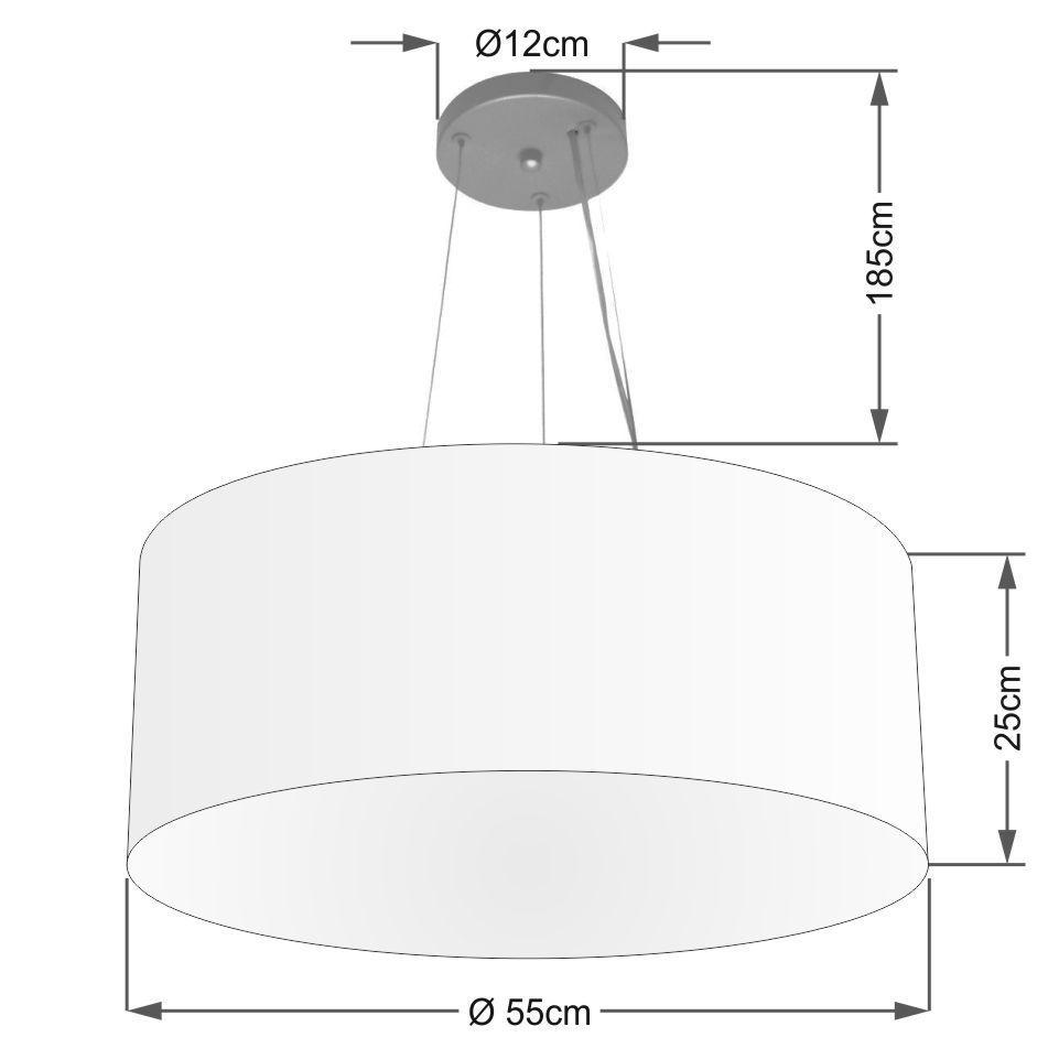 Lustre Pendente Cilíndrico Vivare Md-4191 Cúpula em Tecido 55x25cm - Bivolt