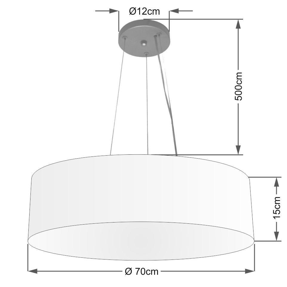 Lustre Pendente Cilíndrico Vivare Md-4193 Cúpula Tecido 70x15cm