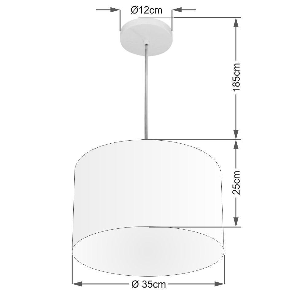 Lustre Pendente Cilíndrico Vivare Md-4211 Cúpula em Tecido 35x25cm - Bivolt