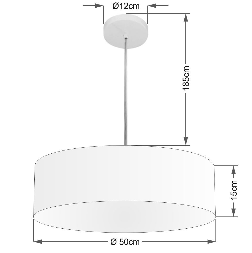 Lustre Pendente Cilíndrico Md-4217 Cúpula em Tecido 50x15cm Rustico Cinza - Bivolt